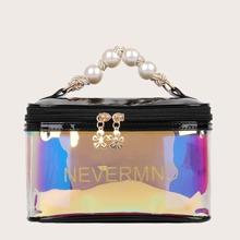 Holographic Zip Around Satchel Bag