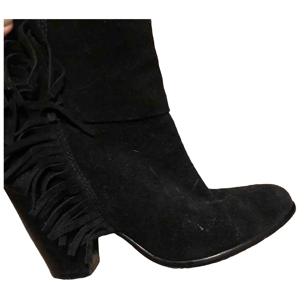 Ash - Boots   pour femme en velours - noir