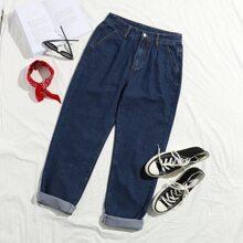 Fold Pleat Carrot Jeans