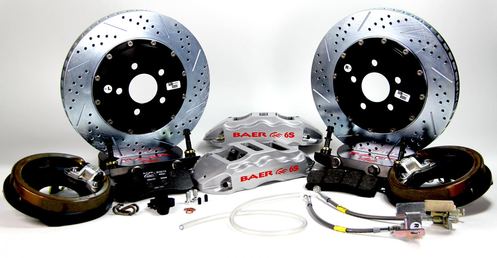 Baer Brakes Brake System 14 Inch Rear Extreme+ with Park Brake Silver GM 10/12 Bolt W/C Clips Axles
