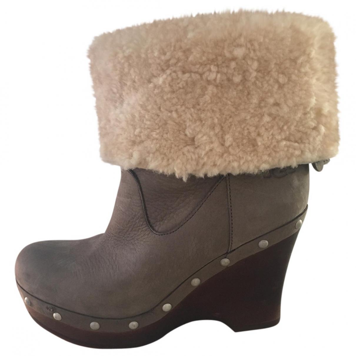 Ugg - Bottes   pour femme en cuir - gris