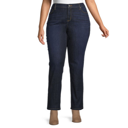 Liz Claiborne Womens Girlfriend Straight Leg Jean - Plus, 22w , Blue