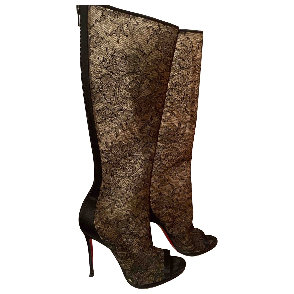 Christian Louboutin \N Black Cloth Boots for Women 37.5 EU