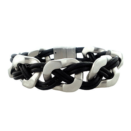 Mens Stainless Steel & Leather Bracelet, One Size , No Color Family