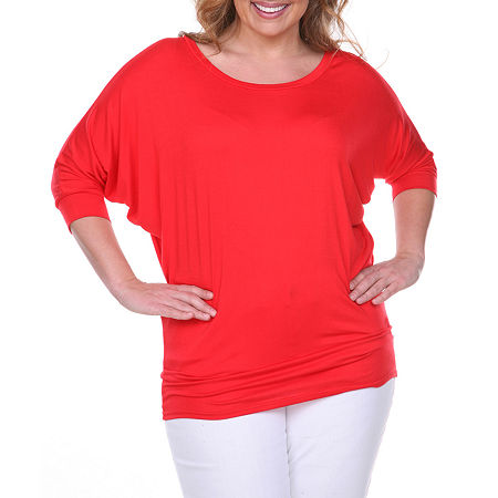 White Mark-Plus Womens Boat Neck 3/4 Sleeve Tunic Top, 4x , Red