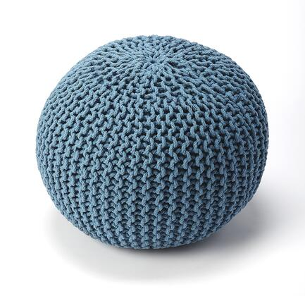 Pincushion Collection 3689291 Pouffe with Modern Style  Round Shape  Thermocol Bean Fill and Fabric Uphlostery in Blue