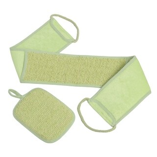 Exfoliating Loofah Back Scrubber Long Shower & Bathtub Body Sponge Scratchier With Natural Luffa Set (Green-2Pack)