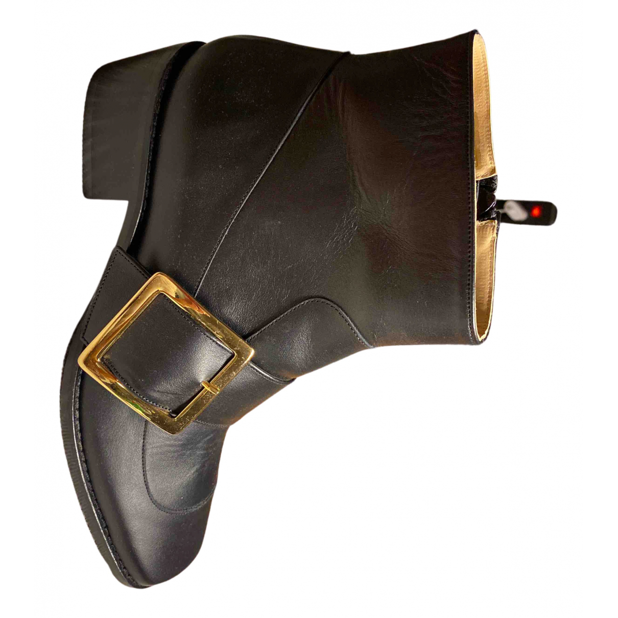 Non Signé / Unsigned N Black Leather Ankle boots for Women 4.5 UK