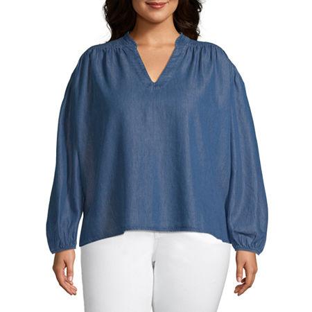 a.n.a-Plus Womens V Neck Long Sleeve Blouse, 3x , Blue