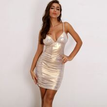 Ruched Bustier Metallic Bodycon Cami Dress