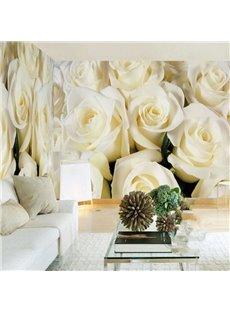 3D Beige Roses Printed Sturdy Waterproof and Eco-friendly Wall Mural