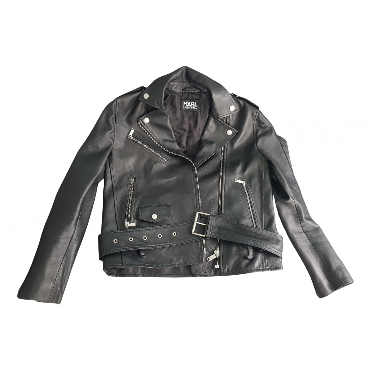 Karl Lagerfeld N Black Leather jacket for Women 36 FR