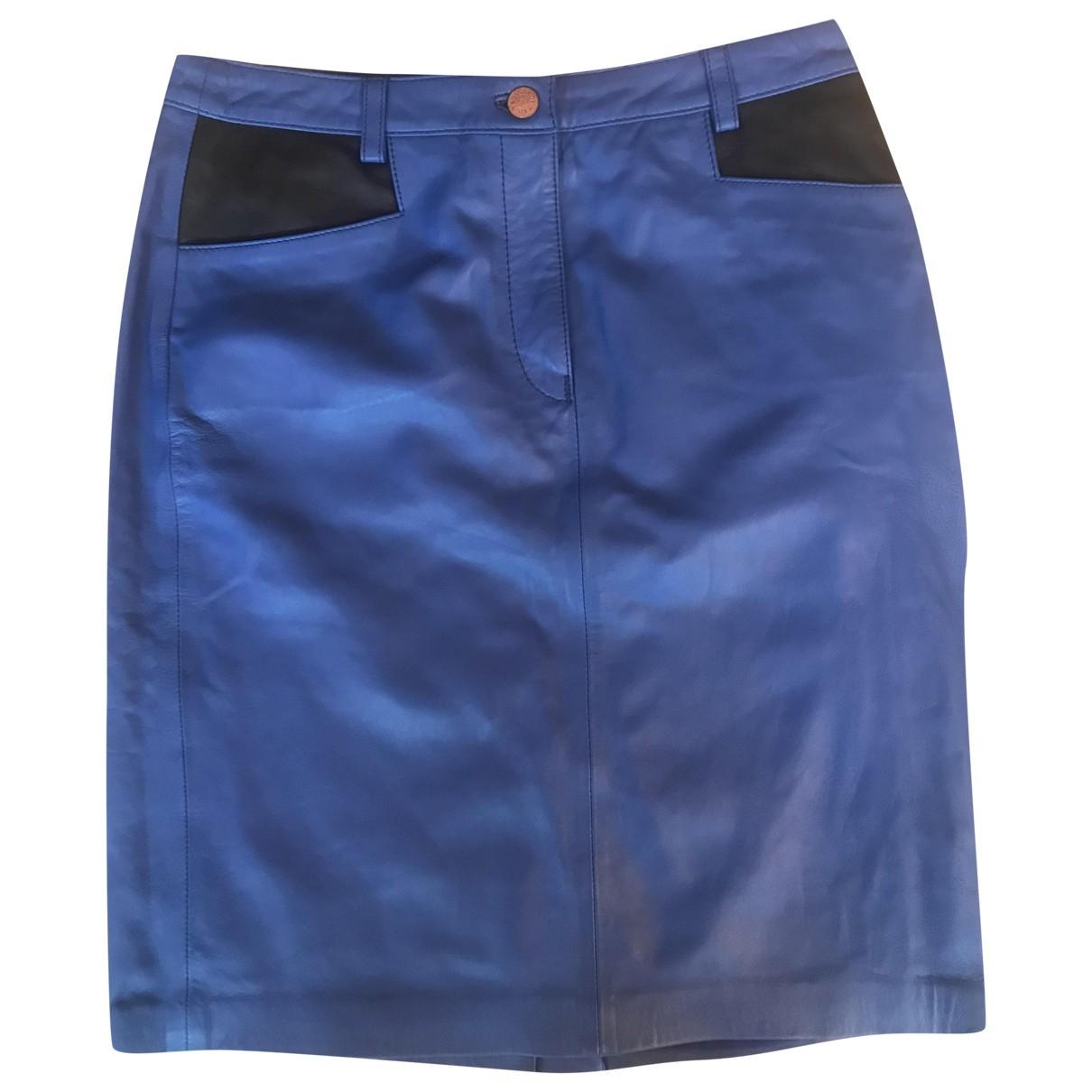 Trussardi - Jupe   pour femme en cuir - bleu