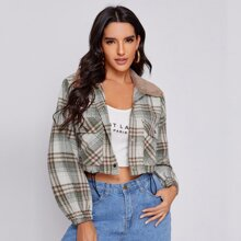 Faux Shearling Trim Drawstring Hem Plaid Jacket