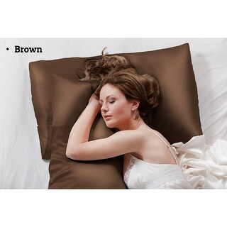 100% Silk Pillowcase for Hair and Skin, 16mm, Standard Size (Brown)