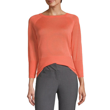Worthington Womens Raglan Crew Sweater - Tall, Large Tall , Orange