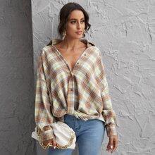 Drop Shoulder Tartan Oversized Blouse
