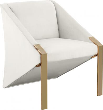 Rivet Collection 593-CREAM Accent Chair with Velvet Upholstery  Gold Steel Legs and Contemporary Style in