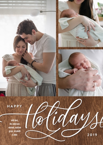 Holiday Photo Cards 5x7 Cards, Premium Cardstock 120lb with Elegant Corners, Card & Stationery -Holiday Gold Script Memories by Tumbalina