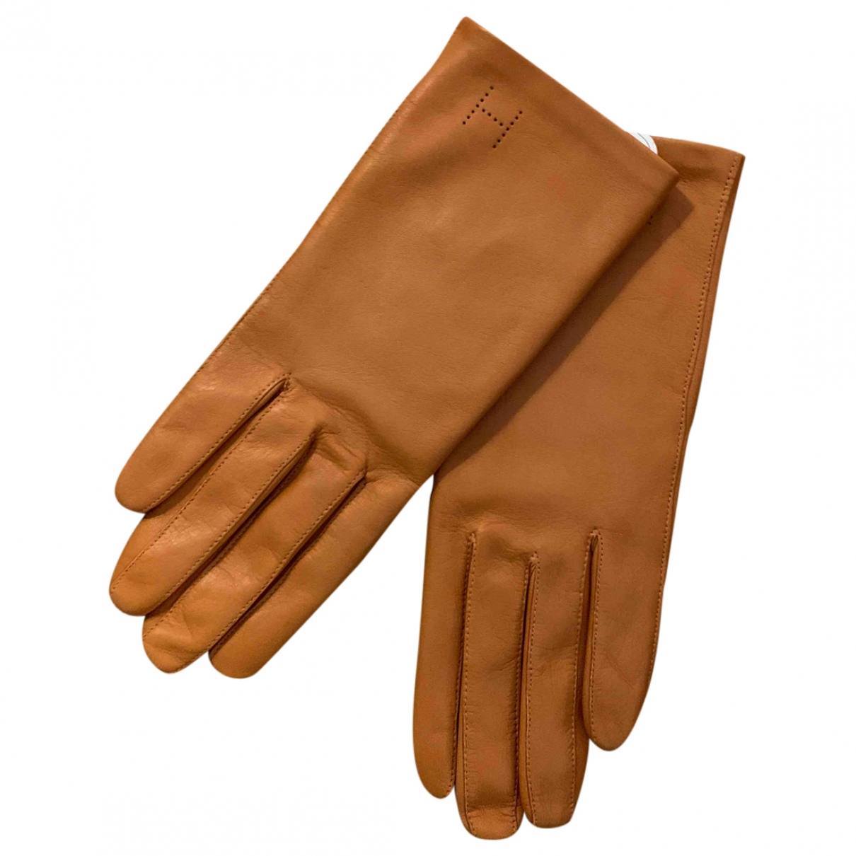 Hermès \N Camel Leather Gloves for Women 7 Inches
