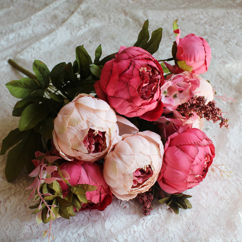European Style Peony Large Beam High-Grade Wool Artificial Flowers