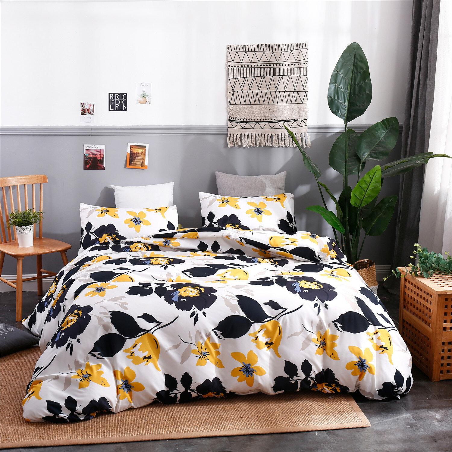 Simple Printed Three-Piece Washable Comfortable Breathable Polyester Pillow Case Quilt Cover