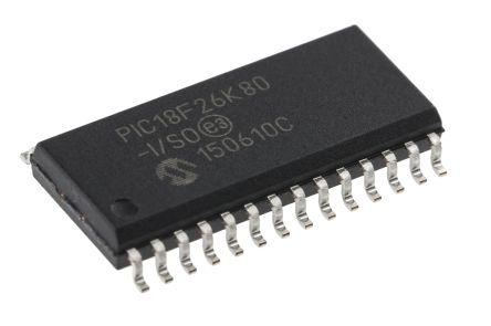 Microchip PIC18F26K80-I/SO, 8bit PIC Microcontroller, PIC18F, 64MHz, 64 kB Flash, 28-Pin SOIC