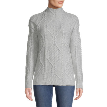 St. John's Bay Womens Mock Neck Long Sleeve Pullover Sweater, X-small , Gray