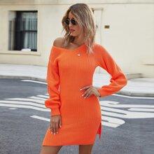 Neon oranges Kleid mit Schlitz