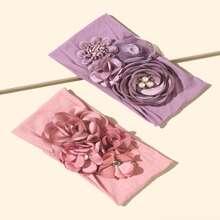 2pcs Toddler Girls Flower Decor Headband