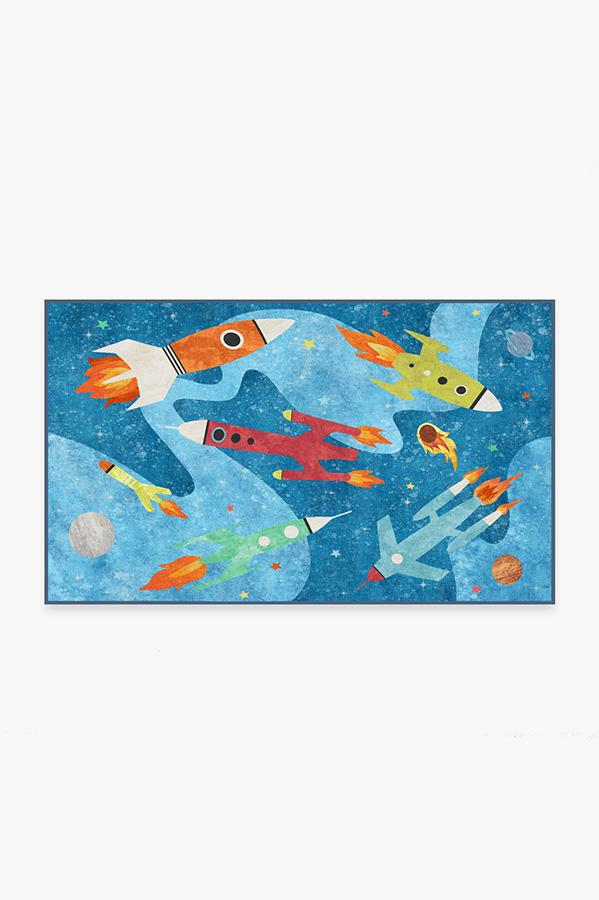 Washable Rug Cover | Rocket Ships Space Blue Rug | Stain-Resistant | Ruggable | 3'x5'