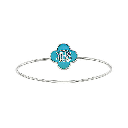 Personalized Sterling Silver 19mm Enamel Clover Monogram Bangle Bracelet, One Size , No Color Family