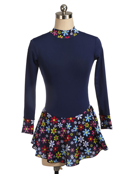 Milanoo Skating Dress Deep Blue Polyester Floral Print Dance Costumes