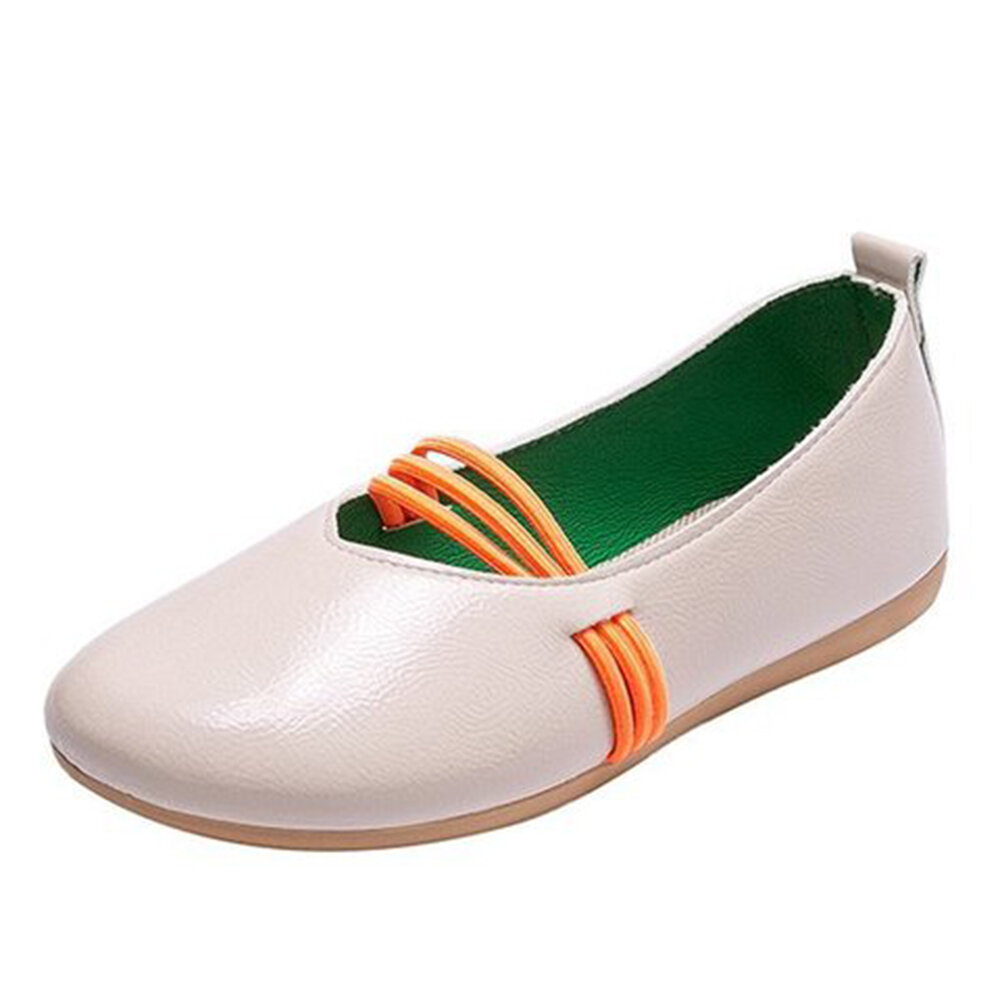 Women Solid Color Round Toe Soft Sole Comfy Slip On Casaul Flat Loafers