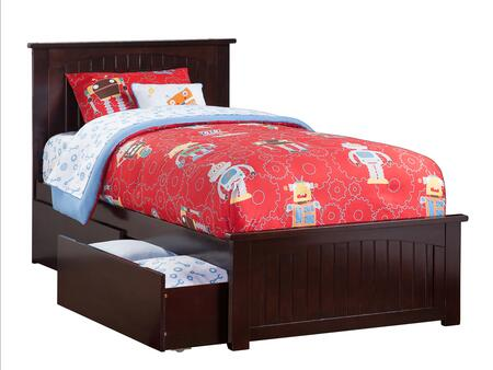Nantucket Collection AR8226111 Twin Size Platform Bed with 2 Urban Bed Drawers  Casters  Matching Footboard  Hardwood Slat Kit and Eco-Friendly Solid