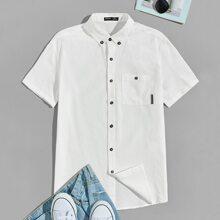 Guys Button Down Collar Patch Pocket Detail Shirt