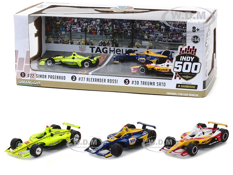 2019 Indianapolis 500 Podium Set of 3 IndyCars 1/64 Diecast Model Cars by Greenlight