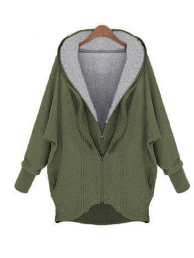 Ericdress Batwing Sleeve Pocket Zipper Long Sleeve Hooded Hoodie