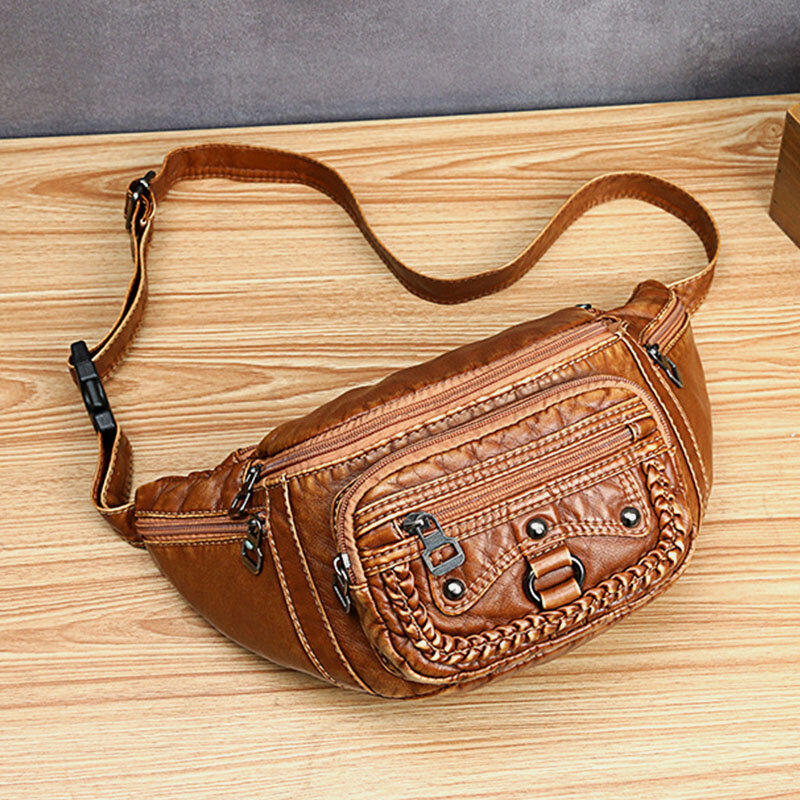 Women Solid Rivet Vintage Crossbody Bag Chest Bag