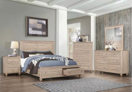 Wenham Collection 205460Q5SET 5 PC Queen Size Storage Bed with Nightstand  Dresser  Mirror and Chest in Natural Oak
