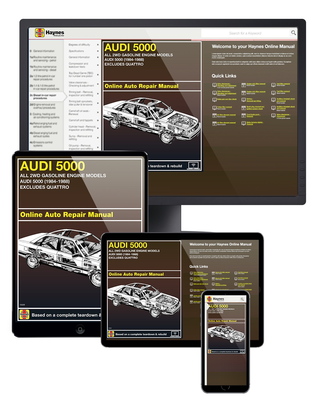 Audi 5000 2WD Gas Engine models (84-88) Haynes Online Manual