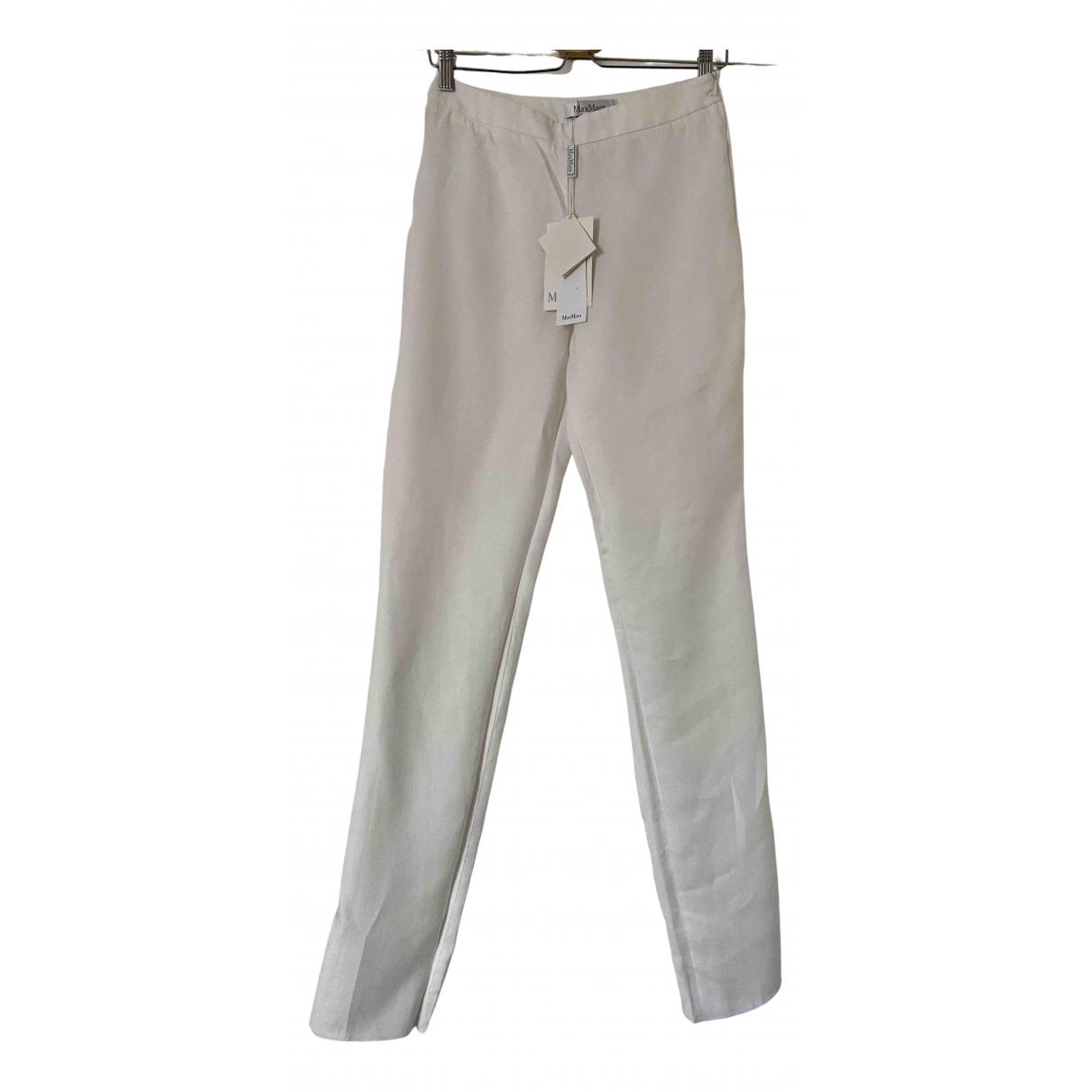 Max Mara N White Linen Trousers for Women 40 IT