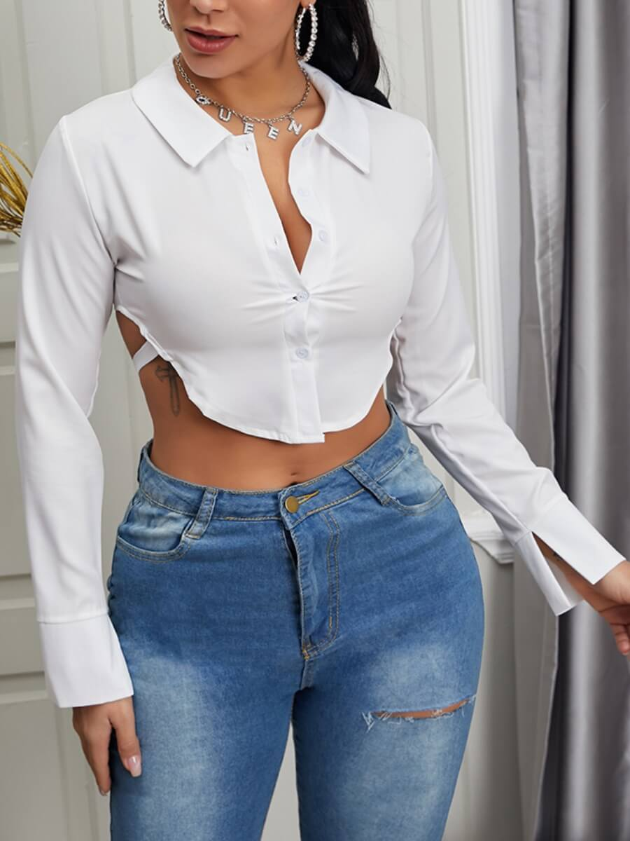 LW Lovely Sexy Turndown Collar Hollow-out Asymetric White Blouse