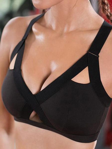 Milanoo Arnes Sujetador deportivo Sujetador de yoga de dos tonos con recorte negro