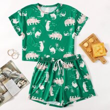 Plus Dinosaur Print Pajama Set