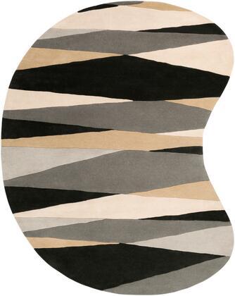 Forum FM-7205 8' x 10' kidney Modern Rug in Black  Cream  Taupe  Medium Gray