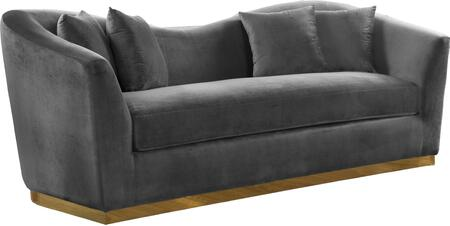 Arabella 617Grey-S Velvet Sofa with Gold Stainless Steel Base and Curved Back Design in