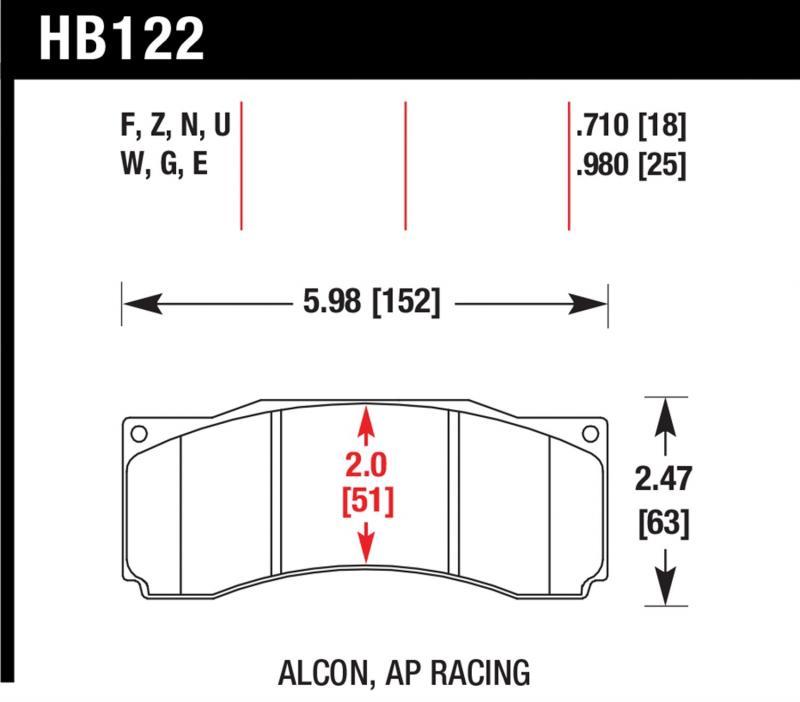 Hawk Performance HB122Z.710 Disc Brake Pad Ford Mustang Front 2007 4.6L V8