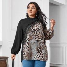 Blusas Extra Grandes Encaje en contraste Leopardo Casual