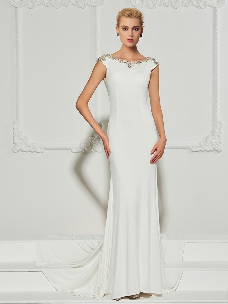 Ericdress Cap Sleeve Beaded Backless Mermaid Evening Dress